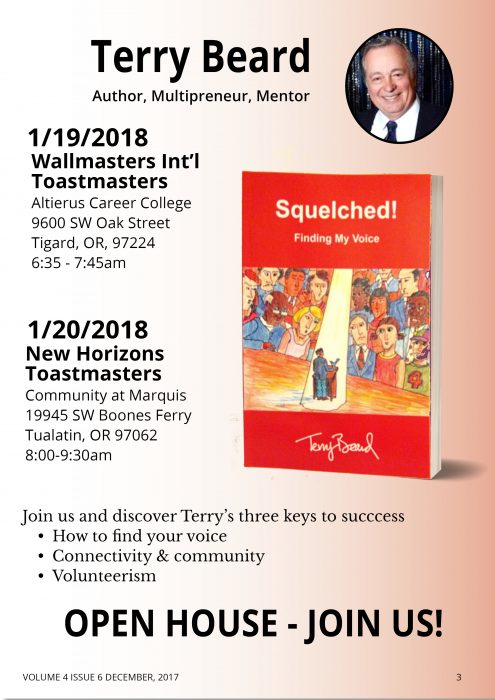 OPEN HOUSE  - New Horizons Toastmasters @ The Community at Marquis | Tualatin | Oregon | United States